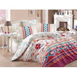 Комплект постельного белья евро Hobby Poplin - Francesca бордовый