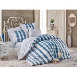 Комплект постельного белья полуторный Hobby Poplin - Debora голубой