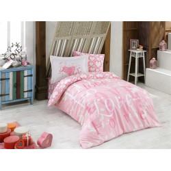 Комплект постельного белья полуторный Hobby Poplin - Love розовый