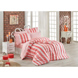 Комплект постельного белья евро Hobby Poplin - Debora коралловый