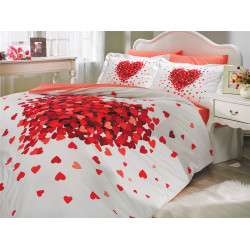 Комплект постельного белья евро Hobby Poplin - Juana красный