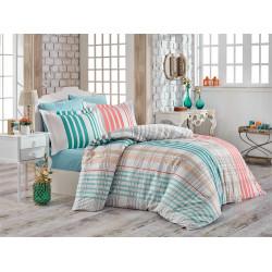 Комплект постельного белья евро Hobby Poplin - Stripe зеленый
