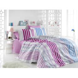 Комплект постельного белья евро Hobby Poplin - Stripe фуксия