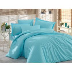 Комплект постельного белья семейный Hobby Exclusive Sateen Diamond - Stripe аква