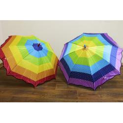 Зонт-трость радуга 2 вида полуавтомат F17808