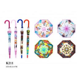 Зонт-трость с рисунком 4 вида полуавтомат K211