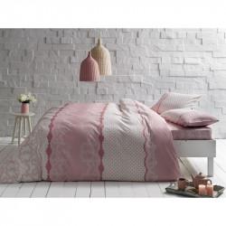Постельное белье евро Tac ранфорс - Sally pembe v01 розовый
