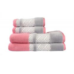 Полотенце махровое 50х90 Hobby - Nazende розовый/серый