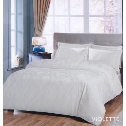 Постельное белье евро Tac жаккард - Violette молочный