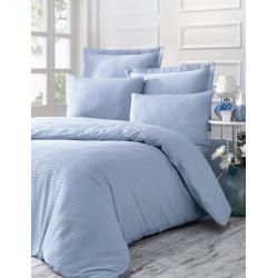 Постельное белье евро Victoria Stripe Sateen - Line голубой