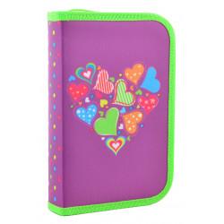 Пенал твердый одинарный с двумя клапанами Hearts purple Smart 531683