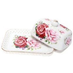 Масленка фарфоровая 17см Розы Bona Di
