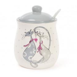 Сахарница керамическая 325мл с ложкой Влюбленные коты Bona Di DM078-L