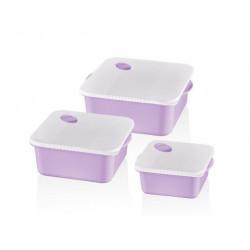 Набор контейнеров квадратных 3пр 0.75,1.5,2.75л Bager Bella Square MIX BG-460