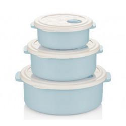 Набор контейнеров круглых 3пр 0.75, 1.5,2.75л Bager WHITE&BLUE BG-421 B