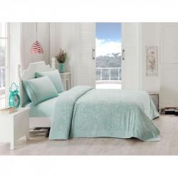 Набор постельного белья TAC сатин + махровая простынь - Lyon mint евро