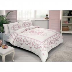 Постельное белье евро Tac сатин - Dora pembe розовый