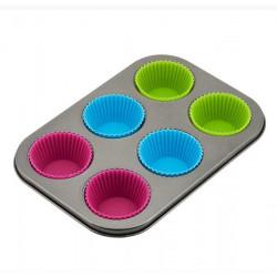 Форма силикон д/вып. 6 шт  26.5 × 18,5 × 3 cм голуб\зел\роз. KH4187 (24 шт. в ящ.)