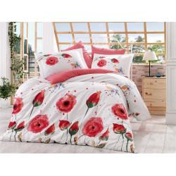 Комплект постельного белья евро Hobby Poplin - Veronika красный