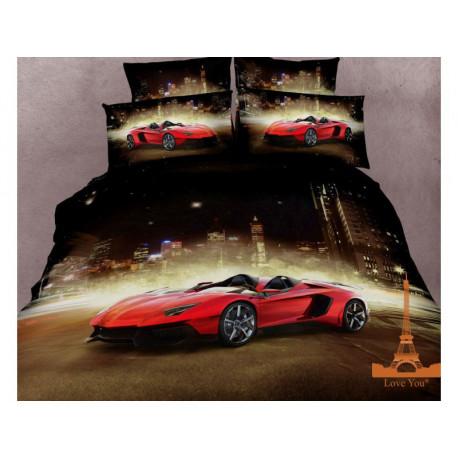 Постельное белье евро 3D Love you Феррари stp 511