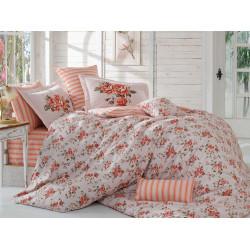 Постельное белье евро Hobby Poplin - Flora персиковый