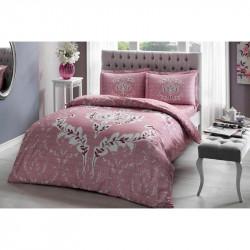 Постельное белье евро Tac сатин - Romy pembe v05 розовый