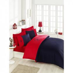 Постельное белье евро Beverly Hills Polo Club - BHPC 106 Red Dark Blue