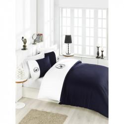 Постельное белье евро Beverly Hills Polo Club - BHPC 106 White Dark Blue