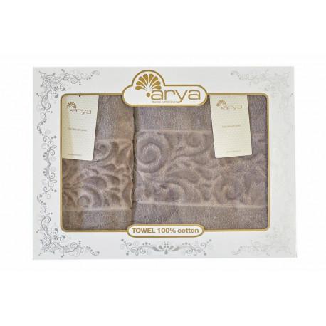 Набор полотенец махровых 50х90+70х140 Arya - Liber серый