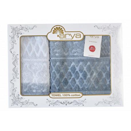 Набор полотенец махровых 50х90+70х140 Arya - Kors Degrade серый