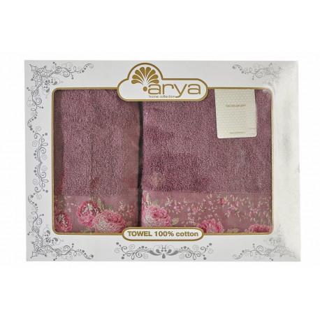 Набор полотенец махровых 50х90+70х140 Arya - Desima пурпурный