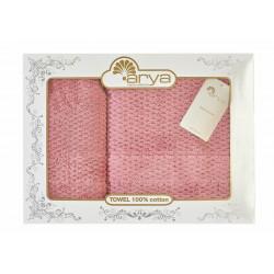 Набор полотенец махровых 50х90+70х140 Arya - Arno розовый