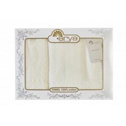 Набор полотенец махровых 50х90+70х140 Arya - Arno кремовый