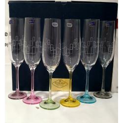 Набор бокалов для шампанского 190 мл Bohemia Viola Rainbow 40729 190S K0568