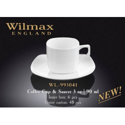 Кофейная чашка и блюдце 90мл Wilmax WL 993041