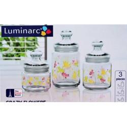 Luminarc Crazy Flowers Набор банок(0,5л,0,75л,1л)-3пр. H9942
