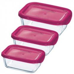 Набор емкостей для еды 3пр. с оранжевыми крышками Luminarc Keep'n'Box J5102