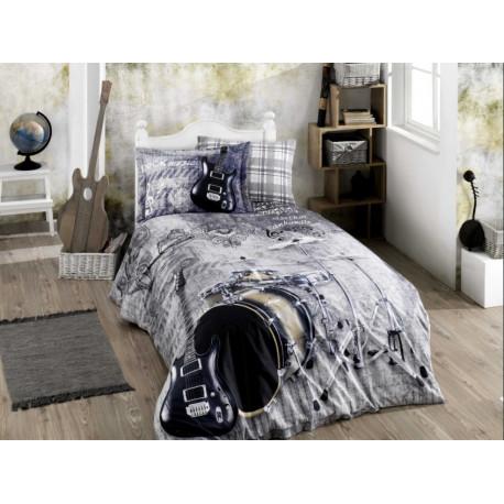 34f82ce915bd Постельное белье полуторное Hobby Poplin - Rock Music серый купить ...