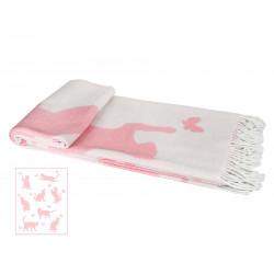 Плед 140х200 LightHouse - Meow розовый