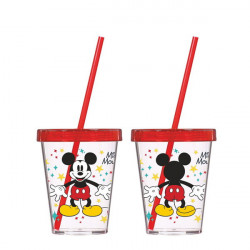 Стакан с трубочкой 600 мл Disney Mickey Mouse Herevin 161440-010